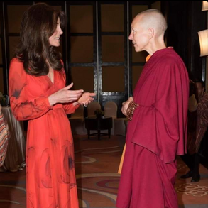 Emma in private audience with the Duke and Duchess of Cambridge during their visit to Bhutan