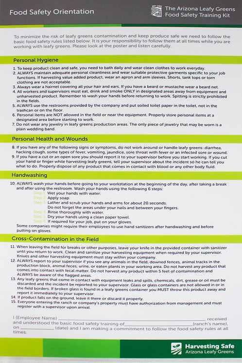Food Safety Training Overview Poster - English