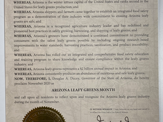 Arizona Leafy Greens Month Kicks Off November 2020