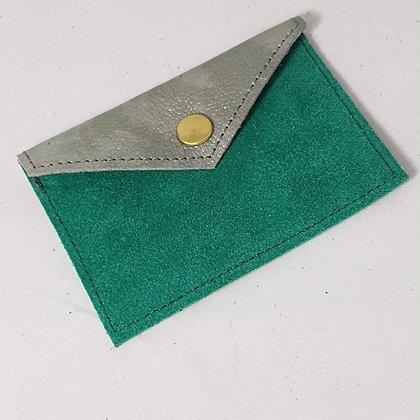 PEAU-RTE CARTES vert et gris argenté