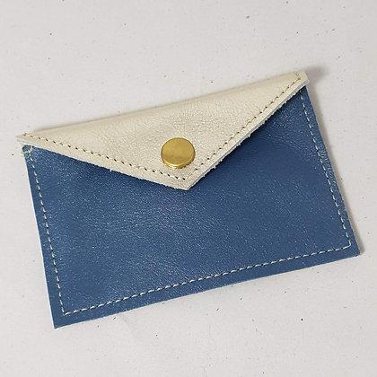 PEAU-RTE CARTES bleu jeans irisé et doré