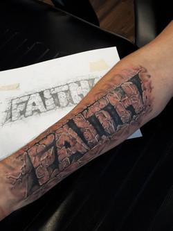 3D Faith text Tattoo