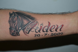 Aiden name with Horse Tattoo