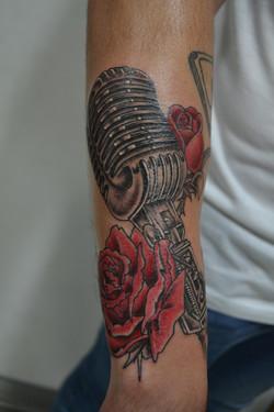 Vintage microphone rose tattoo