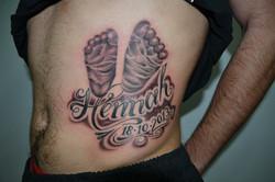 Baby foot print name tattoo