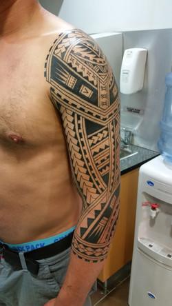 Polynesian full sleeve pic1 tattoo