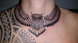 Owl neck piece tattoo