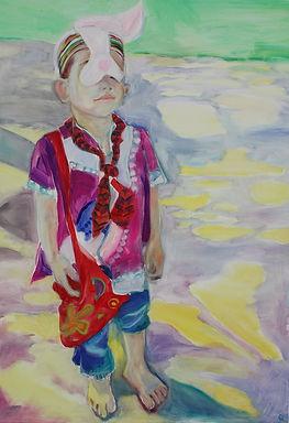 """""""Rabbit Ears"""", Oil on canvas 1mx45cm, 2014"""