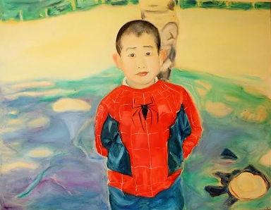 Spiderman Boy  80x50 cm, Oil on Canvas, 2014  £800