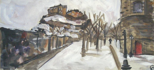 """""""Edinburgh Castle in the snow""""  Oil on Wood, 25x62cm,May 2018  SOLD  """