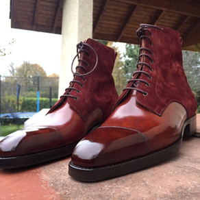 Vass Theresianer (Valway) boots in Museum Gold & Bordeaux Suede from Ascotshoes