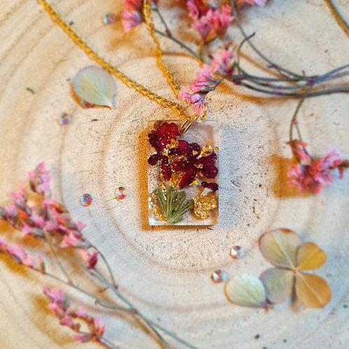 Pressed Flower Verbena Red Resin Pendant