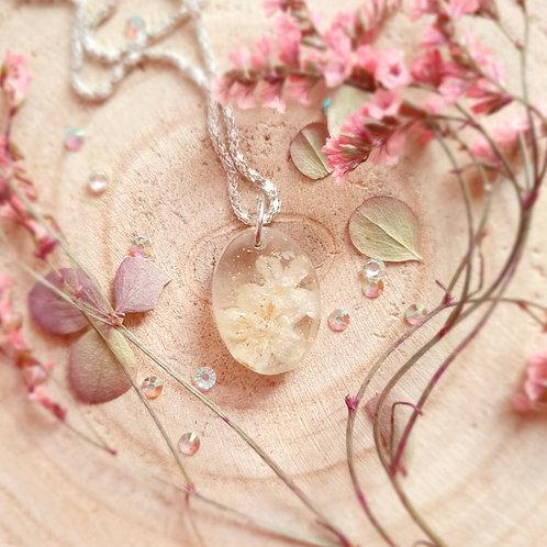 Pressed Flower Sour Cherry Resin Pendant