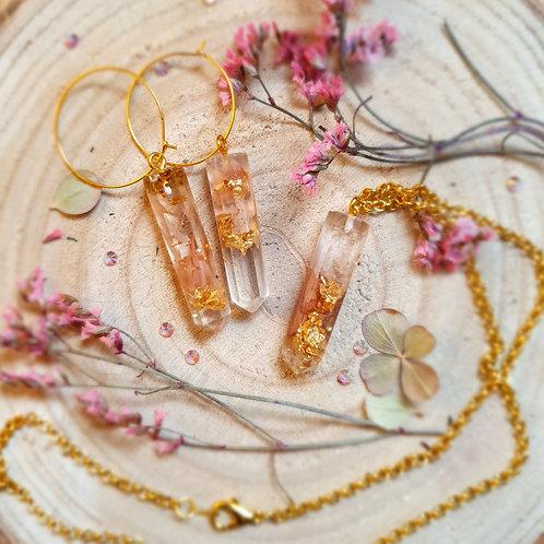 Spring Petal Resin Earring Jewelry Set
