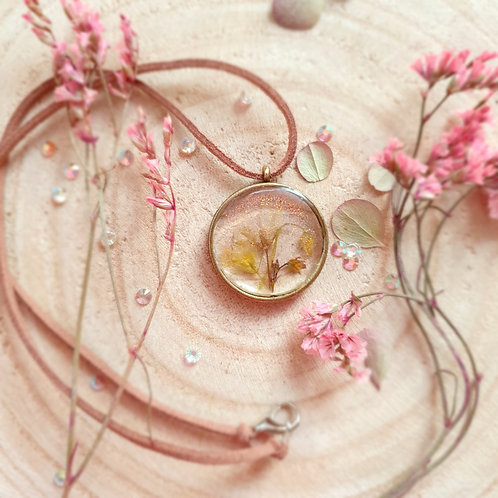 Pressed Flower Marigold Pendant
