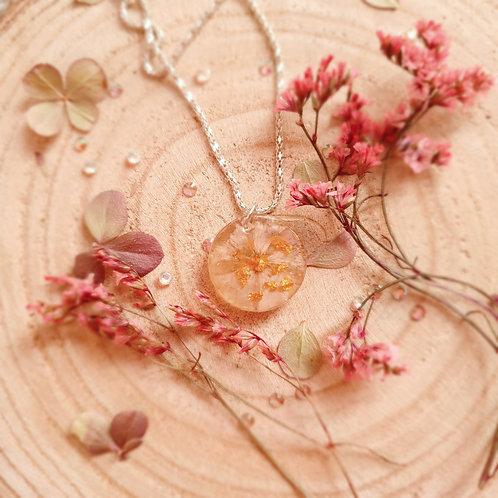 Pressed Flower Spring Pendant Prunus triloba