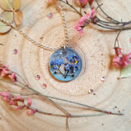 Pressed Flower Forget Me Not Resin Pendant