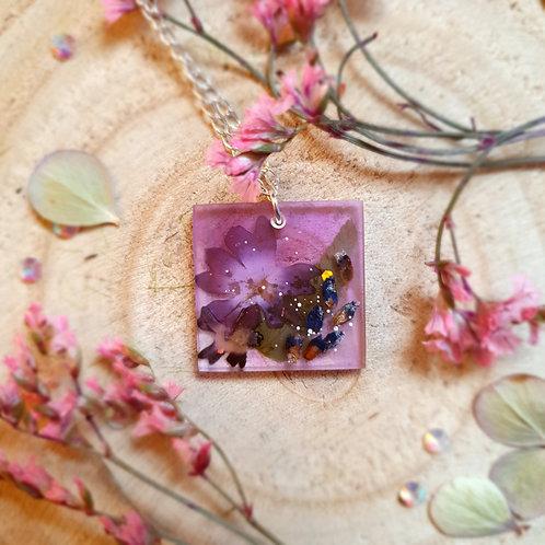 Pressed Flower Purple Verbena Lavender Fern Resin Jewelry
