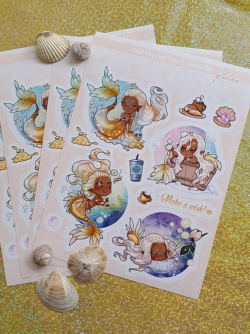 Golden Mermaid Sticker Sheet