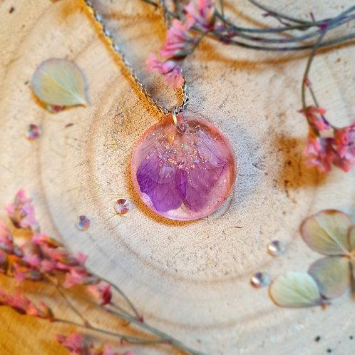 Pressed Purple Petal Resin Pendant