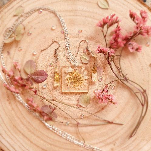 Pressed Flower Jewelry Set