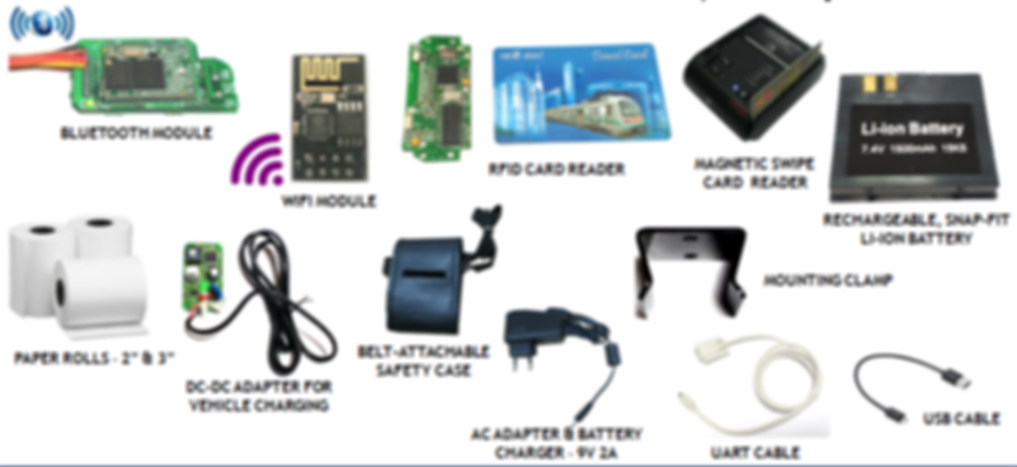 Bluetooth, WiFi, Ethernet, Wireless, RFID, Magnetic Swipe card Reader, Battery, Adapter, Mounting Clamps,