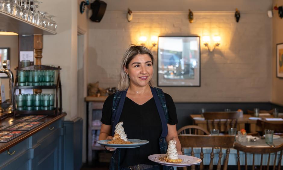 Waitress Mira serving up Mr Whippy dessert at The Richmond Arms