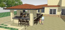 Cabana and stone courtyard