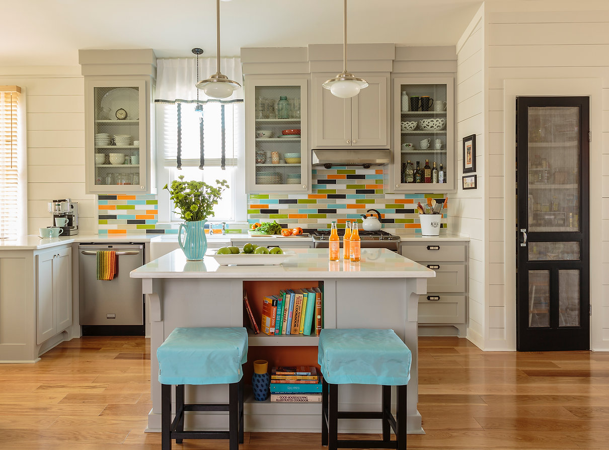 kitchen with colorful backsplash