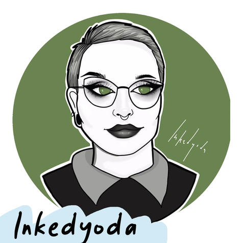 Inkedyoda (they/them) is a queer artist based in Te Whanganui-a-Tara. They are a frequenter of Wellington zinefest, collage and jewelry maker, and chronic oversharer. They can been found making zines and digital art around their experiences as a neurodivergent, queer intersex person with a chronic illness.   [Artist profile of Inkedyoda. It is a stylised illustrated portrait with a dark green background. They are wearing glasses and have short hair.]