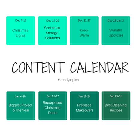 Content Calendar: Dec-January