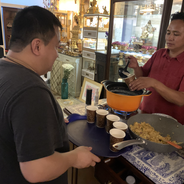Lama Pema and Lopon Lulu preparing tea