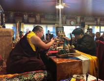 Namgyal Dawa Rinpoche offered Mendel to Dudjom Pema Shepa Rinpoche