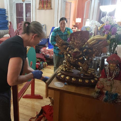 Sangha helping to clean the Temple
