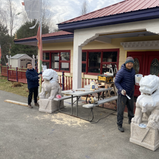 Bhutanese group painting the Lion