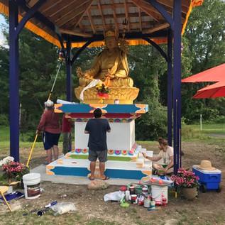 Sangha Members Painting Guru Rinpoche Ku's Throne