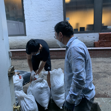 Bhutanese group clearing the area