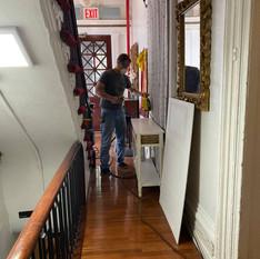 Michael putting up panels