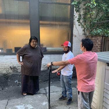 Rinpoche disucssing garden plan with Dawa Tsering and Lama Pema