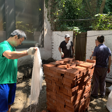 Bhuntanese group transferring bricks to be laid for the garden bed