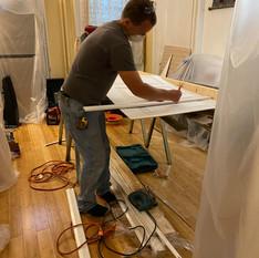 Michael preparing panels
