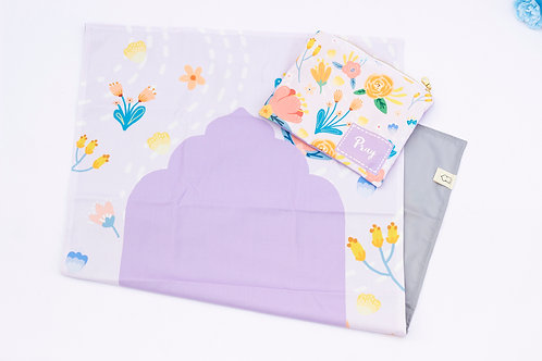 Kid's Travel Prayer Mat with Pouch - Floral Theme (Purple)