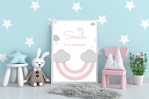 SMILE IT'S SUNNAH WALL FRAME (PINK)(A4)