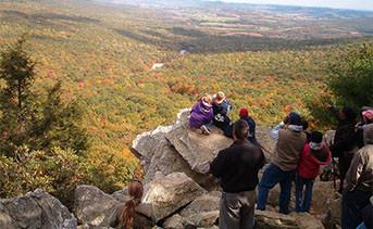 A family enjoying Hawk Mountain