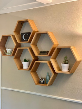HEXAGONAL FLOATING SHELVES
