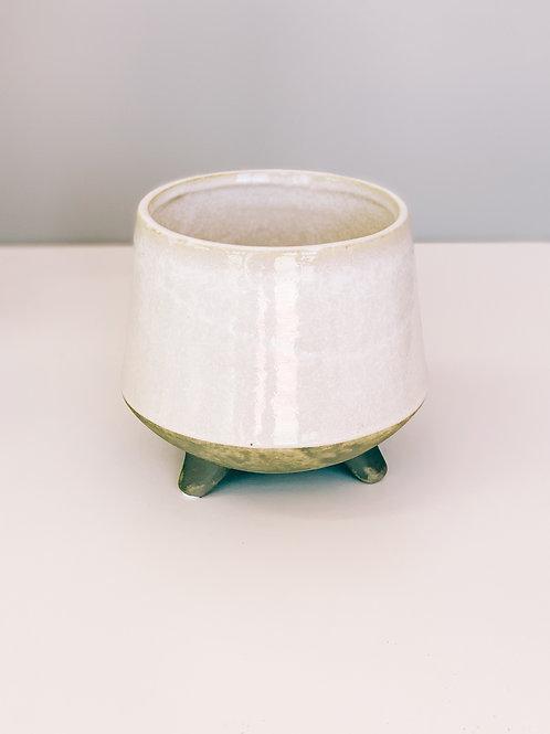 Cream Ceramic Footed Pot