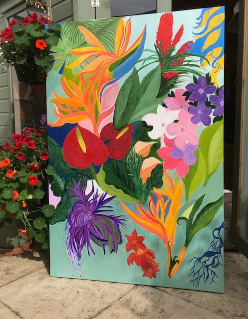 The Tropical Garden collection features original artwork executed in acrylics. by Lynn Inglis- Ingleart