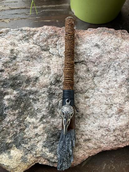Black Kyanite Broom with Crow Skull