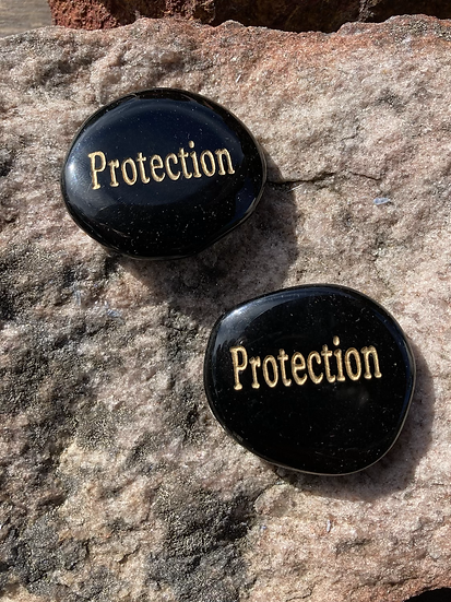Black Obsidian Protection Flatstone