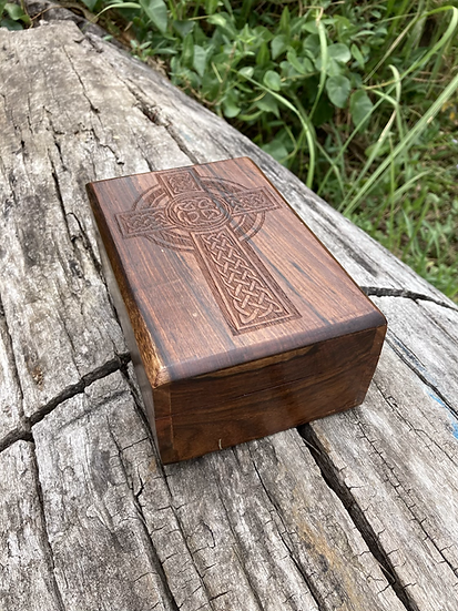 Cross Carved Wooden Box